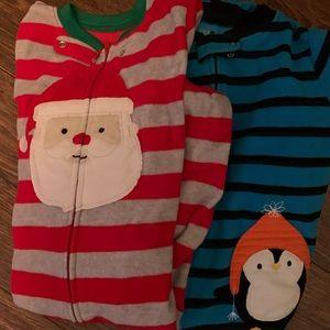 Carters Winter footed PJ bundle Santa & penguin